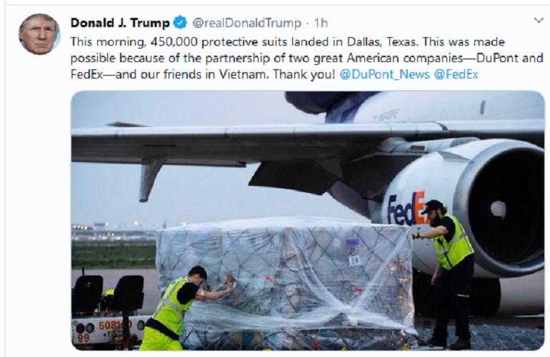 從越南到美國的45萬套防護衣已經落地